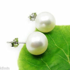 Freshwater Cultured 6-10mm White Pearl Sterling Silver Stud Earrings