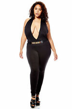 Womens Ladies Plus Plunging Neck Jumpsuit FREE SHIPPING Casual Trendy