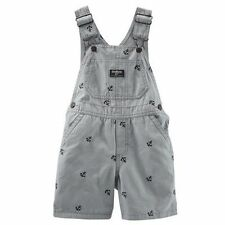New OshKosh Gray with Navy Anchor Short Overalls NWT 2t 3t 4t 5t 18m 24m