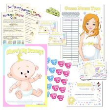 Fun Baby Shower Party Games - Neutral Colours for Boy or Girl Bumps Unisex