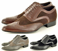 Men's Faux Suede Casual Formal Lace Up Winkle Pickers Brogues Shoes UK Size 5-11