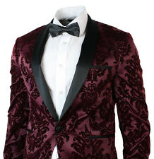 Mens Slim Fit Wine Burgundy Black Suit Tuxedo Satin & Velvet Wedding Party