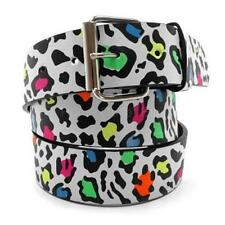 Leopard Printed Leather Belt Rainbow Colored Spots Animal Cheetah Unisex Mens