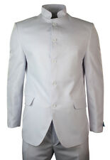Mens Nehru Grandad Chinese Collar Beatle Indian Suit White Self Stripe Jacket Tr