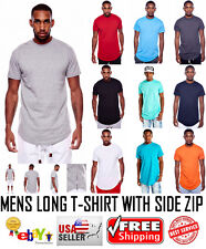 MENS LONG T SHIRT WITH SIDE ZIPPER  ZIP DOPE TEE ILL SWAG TRILL TSHIRT CASUAL