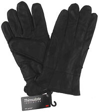 Structure Black Leather Driving Dress Gloves 3M Thinsulate Lined Mens Choice NEW