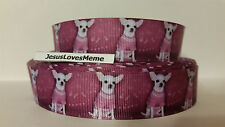 """Grosgrain Ribbon, White Chihuahua Doggies in Pink Sweater, Rescue Puppy, 1"""""""