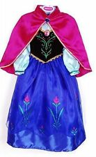 FROZEN ANNA PRINCESS DRESS  CAPE COSTUME GIRL KIDS  FANCY SNOW QUEEN  UK STOCK