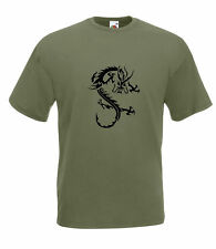 STYLIZED TRIBAL DRAGON GRAPHIC HIGH QUALITY 100% COTTON SHORT SLEEVE T SHIRT