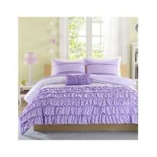 PURPLE GIRLS COMFORTER SET RUFFLES POLKA DOTS TEEN TWIN BED FULL BEDDING BLANKET