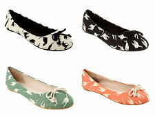WOMENS CAT PRINT FABRIC FLAT DOLLY PUMPS BALLERINA SHOES LADIES UK SIZE 3-8