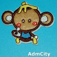 Monkey Iron on Patch Embroidered Applique Animal Cute Badge Retro Baby