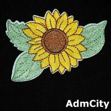 Sunflower Leaf Floral Nature Iron on / Sew on Embroidered Badge Patch Sewing Diy