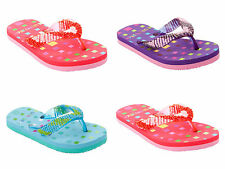 GIRLS BEADED TOE POST SUMMER HOLIDAY BEACH FLIP FLOP SANDALS UK SIZE 10-2