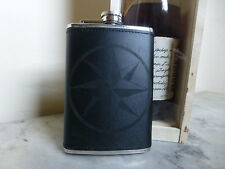 Custom Nautical Star Compass Engraved Leather Dyed Stainless Steel Flask Wedding