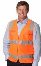 HI-VIS SAFETY VEST 3M REFLECTIVE TAPE WITH ID POCKET BRAND NEW WORK CLOTHES SW42