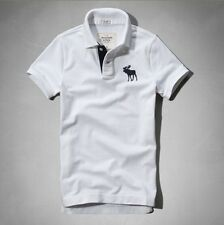 Abercrombie and Fitch Mens polo shirts-Mens A & F-Mens Polo Shirt-White-S to XXL