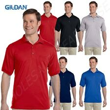 Gildan Men's Welt Knit Collar Three Button Placket Pocket S-XL Polo Shirt RG890