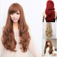 Women Long Brown/Black/Red/Blonde Curly Wavy Full Wigs Cosplay Party Fashion Wig