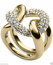 Michael Kors Gold Tone Pave Glitz Curb Link Statement Ring Color Gold SIZE 7 & 8