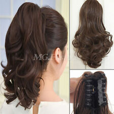 real quality clip in ponytail pony tail hair extension straight curly wave hair