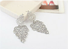 NEW Boho Style Hollow Carved Flower Alloy Pendant Earrings Jewelry Fashion Wild