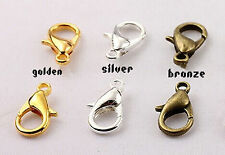 Wholesale Metal LOBSTER CLAW CLASPS- Bronze Gold&SILVER PLATED 10mm,12mm &14mm U