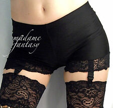 SEXY GOTH BLACK LACE TRIM SHINY SPANDEX SHORTS HOT PANTS SUSPENDERS XS-XXXL