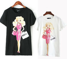 Hotest Women's Love 3 D G style Barbie Doll Moschino Tee Shirt Top 2 color