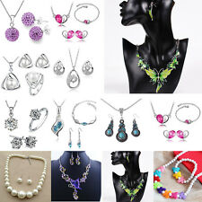 New Colorful Rhinestone Beautiful Retro Alloy Funky Drop Necklace Earrings Set