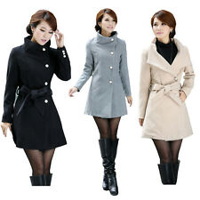 Womens Slim Fit Winter Stand Collar Inclined Long Wool Blend Coat Belt Overcoat