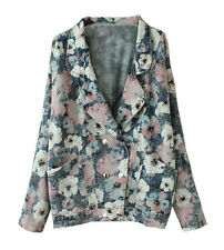Women's Floral Double Breasted Denim Lapel Blazer Trench Coat Jeans Jackets Tops