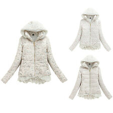 New Women's Korean Fashion Hooded Zipper Lace Hem Thicken Fleece Coat Jacket