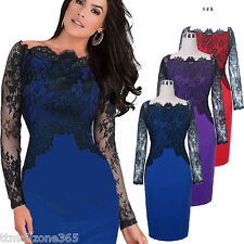 Women Lace Off Shoulder Formal Evening Sexy Cocktail Party Gown Fit Pencil Dress