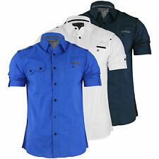 Mens Shirt Dissident Cygnus Short Sleeve Cotton Collared Casual Top