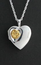 Cremation Heart Locket Gold Rose  Memorial Urn Jewelry Pendant