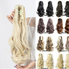 100% New Clip in hair extension Curly Straight Black Claw Ponytail hair piece S0