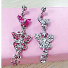 Crystal Butterfly Dangle Ball Barbell Belly Button Navel Ring Body Piercing M7
