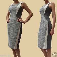 NEXT GREY WHITE TEXTURED OFFICE WORK OCCASION PENCIL SHIFT DRESS