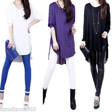 Women Crew Neck Chiffon Patchwork T-Shirt Batwing Sleeve Loose Long Top Blouse