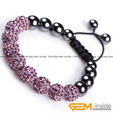 10mm Hand-Woven Rhinestone Czech Crystal Pave Ball 9 Beads Bracelet Adjustable