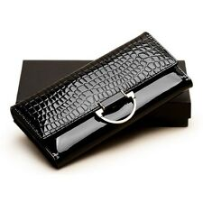 Women Polish Genuine Patent Cowhide Leather Wallets Long Design Purse Clutch