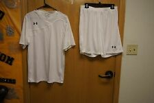 UNDER ARMOUR Men's HeatGear SOCCER JERSEY ($20.00) & SHORTS ($16.00) NEW  WHITE