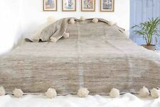 MOROCCAN PURE WOOL BLANKET WITH POMPOMS, HAND WOVEN ON WOODEN LOOMS (WL061)