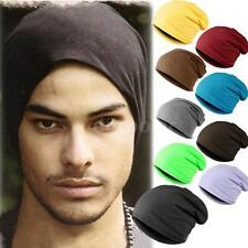 Men Women Unisex Warm Plain Ski Hat Long Knitted Skull Cap Beanie Solid Color