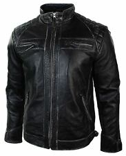 Mens Retro Zipped Biker Jacket Real Leather Worn Black Rub Off Vintage Style