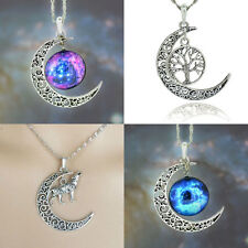 Silver Crescent Moon Galaxy Wolf Pendant Necklace Spiritual Wiccan Pagan Native
