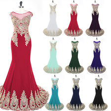 Applique Formal Long Evening Prom Party Dresses Bridal Prom Ball Gown Plus Size