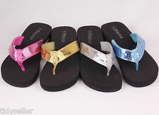 New Princess Youth Girls Shoes Sequins Flip Flops Thong Black Wedge Sandals Heel