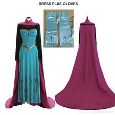 FROZEN STYLE ADULT PRINCESS ELSA DRESS AND CAPE DRESS PARTY FANCY COSTUME  321
